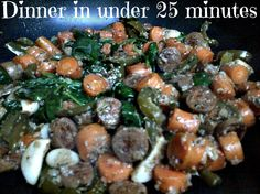 Home cooked dinner in under 25 minutes: Dinner tonight is tons of veggies and.soupy :) spinach, carrots, garlic, green peppers, applegate chicken sausage, ground pepper, miso broth, coconut oil, dried dill and oregano, and the secret ingredient: steel cut oats. For more ideas check out www. LeRnintri.com #refuel #veggies #whatscooking #nom #organicgoodness #freerange #somanycolors #instagood #cleaneats, #meal, #diet, #foodgasm #foodporn #yummyinmytummy, #meal,