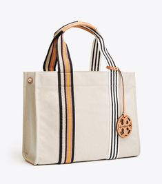 Visit Tory Burch to shop for Miller Canvas Tote and more Women's Handbags. Find designer shoes, handbags, clothing & more of this season's latest styles from designer Tory Burch. Fabric Bags, Tote Handbags, Canvas Handbags, Purses And Bags, Shopping Bag, Tory Burch, Reusable Tote Bags, Shoe Bag, Leather