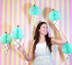 Hang paper ice cream cones to make your photo backdrop *that* much better.