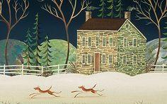 Winter Landscape by D.Masters Kriebel, an American Folk Artist