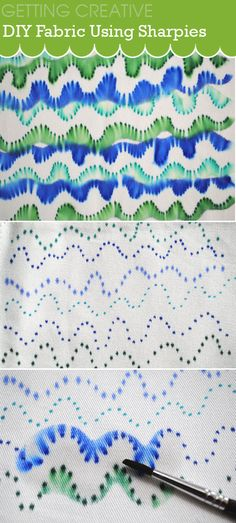 Create this fun fabric design using sharpies and rubbing alcohol Maybe when I Sharpie my mugs? Sharpie Alcohol, Sharpie Pens, Rubbing Alcohol, Sharpies, Sharpie Doodles, Sharpie Projects, Sharpie Crafts, Craft Projects, Sewing Projects