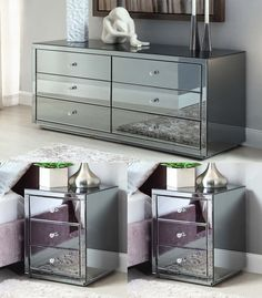 Vegas SMOKE Mirrored bedside Tables and Chest Package - Mirror Furniture #Myfurniture