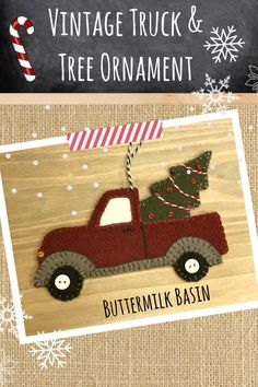 Vintage Truck and Tree Ornament * KIT