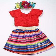 Online Children's Boutique featuring the latest trends and custom high end clothing for little girls ages newborn to 8 years old. Fiesta Outfit, Fiesta Dress, Mexican Outfit, Mexican Fashion, Mexican Halloween Costume, Baby Halloween Outfits, Moana Birthday Outfit, Fall Baby Clothes, Red Lace Top