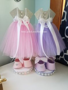 90aec6578 Pink and Silver Girl Shoes Centerpiece/Girl Tutu Shoes Bling Baby Shower,  Baby Shower