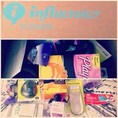 All of the goodies from Influenster ....  Playtex Sport Fresh Balance	@Playtex_Sport #PlayOn Vitamin Shoppe Next Step Fit N Full Protein Shake @The Vitamin Shoppe #NextStep Blue Diamond Blueberry Flavored Almonds @Blue Diamond Almonds #GetYourGoodGoing Profoot Triad Orthodic AND Profoot Pedi Rock @Profoot_Inc #GoProFoot Aqua Spa Bath Salts @Aqua Spa Bath and Body Products #RelaxwithAquaSpa 1 Voucher for a FREE Muller Yogurt	@Müller Yogurt #MullerQuaker