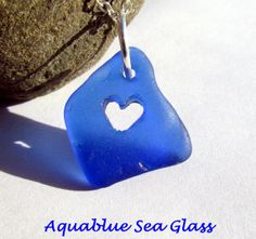 Heart CARVED  Cobalt Blue  Drilled  Sea Glass by aquablueseaglass, $14.99