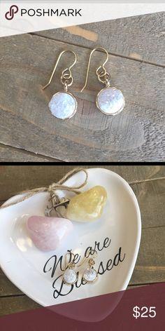 Clear Genuine Stone Druzy Earrings Handmade clear genuine stone earrings with solid brass ear wires. Handmade Jewelry Earrings