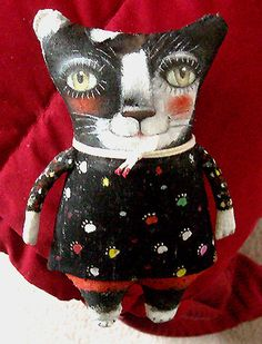 Original Art Doll  Kitty with black nose  Folk Art primitive made entirely by hand.OOAKFrom miliaart