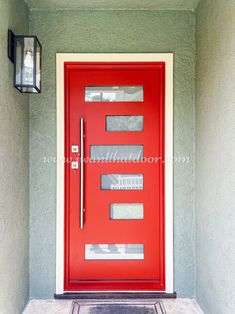Whether you're looking for an arrival or an exit, we've got a door just for you! 💡 About this design: Red Paco Single Entry Iron Door ☎️️ 877-205-9418 🌐 www.iwantthatdoor.com Wrought Iron Doors, Filing Cabinet, Locker Storage, Red, Design, Home Decor, Decoration Home, Wrought Iron Gates, Room Decor