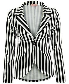 Vertical Striped Black & White Long Sleeve Blazer | Beetlejuice ...