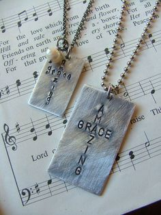His And Hers Set of Two Amazing Grace Custom Hand Stamped Cross Dog Tag Necklaces by MyBella / Photo Klick Silverware Jewelry, Spoon Jewelry, Wire Jewelry, Jewelry Crafts, Handmade Jewelry, Jewelry Tags, Diy Jewelry Stamping, Penny Jewelry, Soldering Jewelry