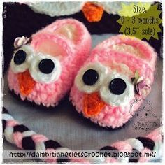 """Baby Owl Booties - CROCHET - easy - fit newborn to 3 mos.- sole measures 3.5"""" - FREE PATTERN"""