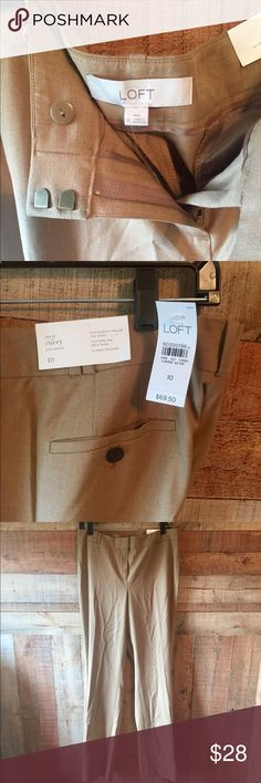 "LOFT Julie curvy fit Classic Trouser sz 10 Classic Trouser.  LOFT Julie Fit Curvy.  Sits slightly below the waist, flatters the hip  & thigh.  Size 10, 16"" across the waist, 33"" inseam.  Rear pockets only.  51% Rayon, 46% Polyester, 3% Spandex.  Never worn,tags attached!  Please excuse my wrinkles! LOFT Pants Trousers"