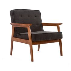 Mid-Century Walnut Lounge Chair in Charcoal