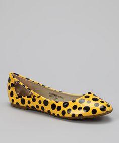 Bumper & Shully's  Yellow & Black Polka Dot Ballet Flat - Zulily