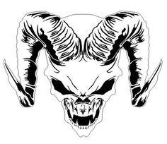 Skull Template Airbrush Stencil | Chrome Look Horned/Horny Skull Badge For Jeep Grand Cherokee Cars