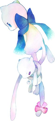 Mew and Mewtwo plushie