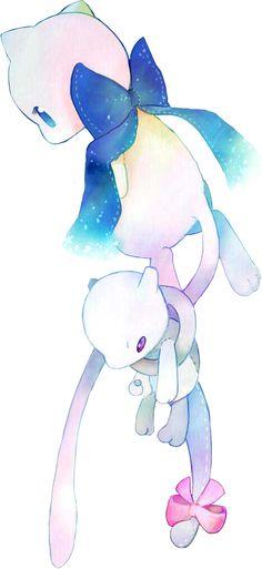Mew and Mewtwo plushie