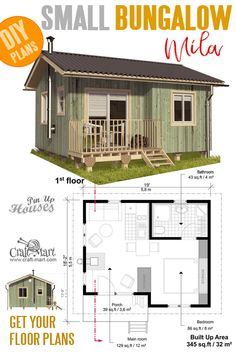 and tiny Home plans with cost to build - Small Bungalow House Plans MilaSmall and tiny Home plans w.Small and tiny Home plans with cost to build - Small Bungalow House Plans MilaSmall and tiny Home plans w. Small Bungalow, Bungalow House Plans, Tiny House Cabin, Tiny House Living, Simple Bungalow House Designs, Bungalow Homes, Small House Design, Small House Diy, Cheap Tiny House