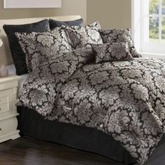 Monti 8-Piece Comforter Set has a woven bouquet damask tha...