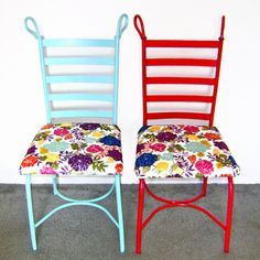 I did this today and it was SO easy and very inexpensive... I think it cost $7 total... I garbage picked the chair. I painted mine yellow and used a bright floral print.