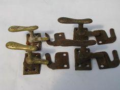 Interior shutter latch cabinet catch old original copper finish vintage screws