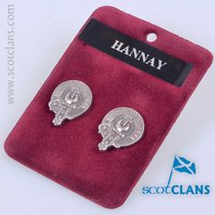 Pewter cufflinks with Hannay clan crest - from ScotClans