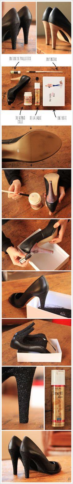 Customiser des escarpins en Glitter pour briller jusqu'au bout de la nuit. DIY sur www.rubambelle.com