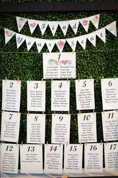 How awesome is this seating chart? Love the bunting banner on top! {Dan and Melissa | Wedding Photographers}