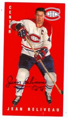 jean beliveau hockey cards | Jean Beliveau autographed hockey card (Montreal Canadiens) Parkhurst ...