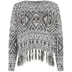 Work aztec prints into an autumn wardrobe with this fringed number.  Try black skinny jeans and ankle boots to complete the look.  All over aztec print.  Fring…