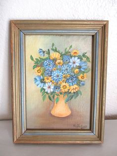 Items similar to Vintage Flower Bouquet Painting Still Life Original Painting Blue Yellow Flowers Signed K. Johns x on Etsy Yellow Flowers, Vintage Home Decor, Vintage Flowers, Original Paintings For Sale, Vintage House, Vintage Shops, Crystal Candle Holder, Etsy, Vintage
