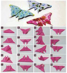 Artık kumaş ve kağıtlardan kelebek yapımı .......Rosely Pignataro