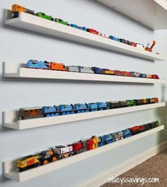 Toy Train Storage or dolls or books or cars, the list is endless! - Make your own decoration - Toy Train Storage or dolls or books or cars, the list is endless! Hot Wheels Display, Hot Wheels Storage, Kids Storage, Storage Ideas, Toy Car Storage, Baby Storage, Storage Organization, Playroom Storage, Kid Decor