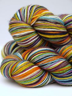 Hand Dyed Self Striping Fingering/Sock Yarn80/20 by Quaere on Etsy, $26.00