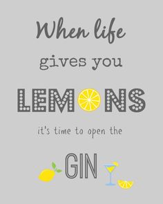 When life gives you lemons its time to open the Gin print! This funny and inspirational, motivating quote is perfect to brighten up your home! It would make a great inspiring gift to motivate people to achieve great things! This great amusing poster is similar and a slightly different take on the when life gives you lemons make lemonade poster or the when life gives you lemons make a gin and tonic printable poster. The background of this print quote is a lovely green and the writing is…