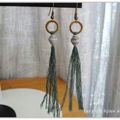 Boucles d'oreilles perle en papier et pompon