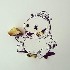 Juntando Ilustração com objetos no Instagram - Hippo eating