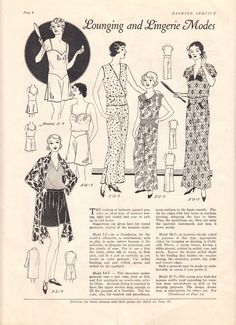 Lounging and lingerie modes, 1930s. #vintage #1930s #fashion