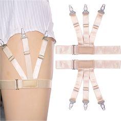 Mens Shirt Antiskid Belt Stays Garters Nylon Striped Suspenders Elastic Straps J