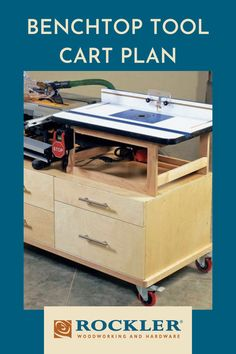 A jobsite table saw and router table join forces on this easy-to-build four-drawer workstation. Our rolling base tag-teams your jobsite table saw with a full-size router table. Find the plan to make it here! #CreateWithConfidence #ToolCart #Rockler #BenchTopToolCart #ShopOrganization Rockler Woodworking, Learn Woodworking, Woodworking Projects, Jobsite Table Saw, Mobile Workbench, Tool Cart, Workshop Organization, Router Table, Drawer