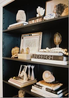 shelf styling using coral and beads and other intersting objects