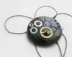 Handmade polymer clay pendant, inspired by alarmclock, $23.90 #steampunk #jewelry