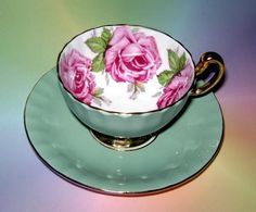 Sage & Huge Pink Roses Aynsley Tea Cup and Saucer Set