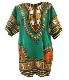 Green African Dashiki Green Dashiki Shirt Unisex by SissaFashions
