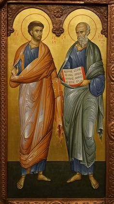 The Holy Apostles and Evangelists Luke & John the Theologian with the Introductory verse of his Gospel (John Religious Images, Religious Icons, Religious Art, Byzantine Icons, Byzantine Art, St Peter And Paul, Religious Paintings, High Art, Orthodox Icons