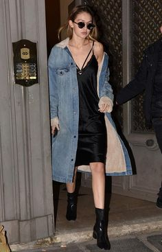 Gigi Hadid black slip dress, long denim coat with fur lining - edgy glam street style 2016 Gigi Hadid Looks, Gigi Hadid Style, Black Booties Outfit, Black Boots, Estilo Gigi Hadid, Denim Mantel, Denim Jacket With Dress, Long Denim Coat, Estilo Jeans