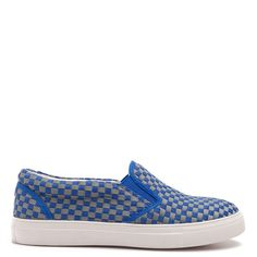Chessboard slip-on sneakers in blue and grey colour with white sole.