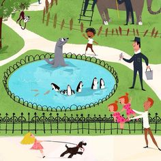 """More from """"A Day at the Zoo."""" Seals and penguins! #illustration #childrensbooks #KidsBooks"""